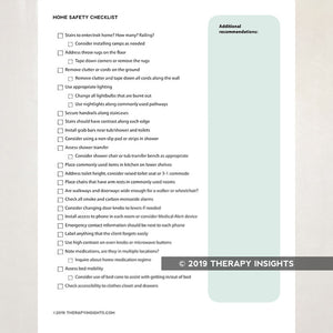 Home evaluation checklist for occupational therapists. Therapy Fix. Therapy Insights.