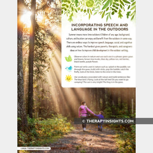 Handout: Ideas for Incorporating Speech and Language in the Outdoors