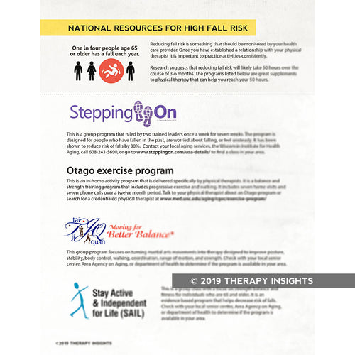National fall risk resources - physical therapy handouts - Therapy Insights - Therapy Fix