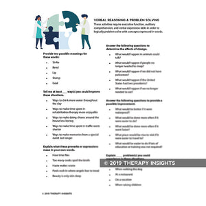 Verbal reasoning and problem solving structured therapy task - speech therapy materials for adults - rehabiliation materials - Therapy Insights - Therapy Fix