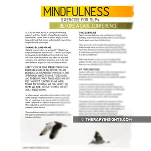 Mindfulness for SLPs: Before a Care Conference