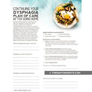 Form: Continuing the Dysphagia Plan of Care After Going Home - English or Español