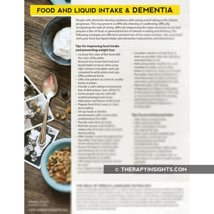 Food and Liquid Intake and Dementia