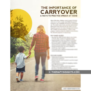 Pediatric Handout: The Importance of Carryover and Ways to Practice Speech at Home