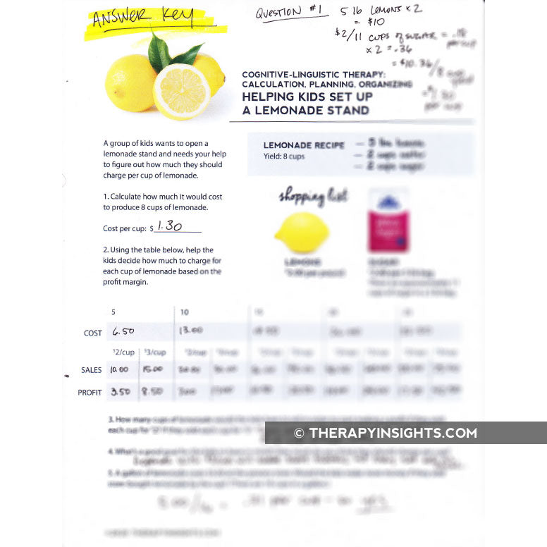 Load image into Gallery viewer, Cognitive-Linguistic Task: Lemonade Stand Business Plan