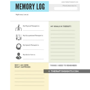 Memory Log Template for People with Memory Impairments