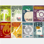8 parts of speech posters adjective-adverb-article-pronoun-conjunction-noun-preposition-verb- SLP Insights