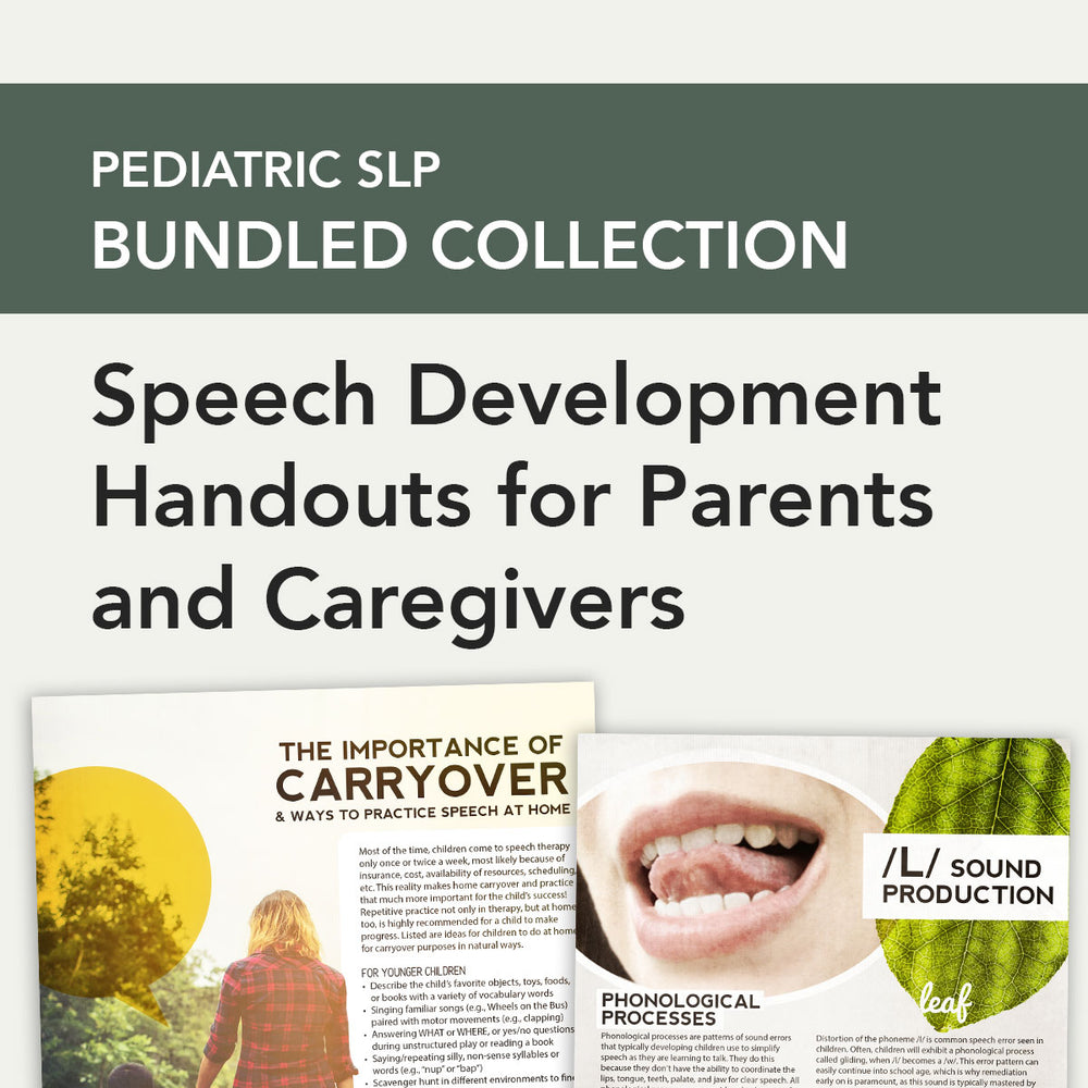 Pediatric SLP Bundle: Speech Development Handouts for Parents and Caregivers