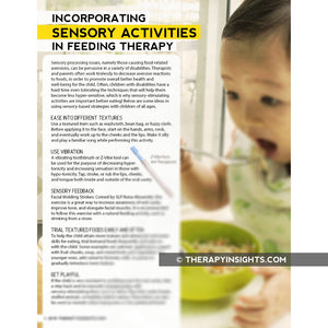 Pediatric Feeding Handout: Incorporating Sensory Activites in Feeding Therapy