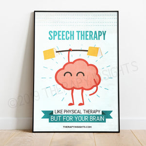 Speech Therapy: Like Physical Therapy but for Your Brain Poster. Therapy Insights. Posters for speech-language pathologists. Funny SLP Posters.