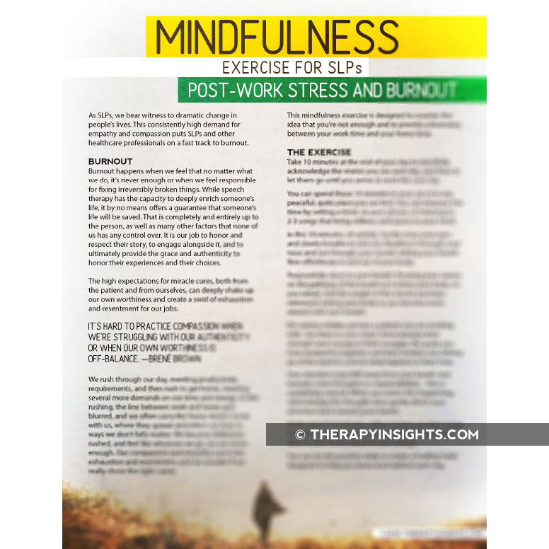 Mindfulness for SLPs: Post-Work Stress and Burnout