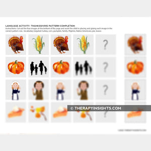 Pediatric Language Activity: Thanksgiving Patterns