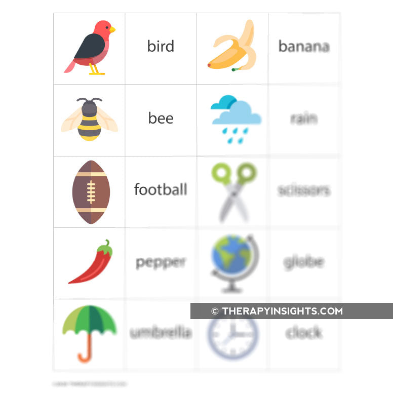Language Task: Matching Pictures to Words