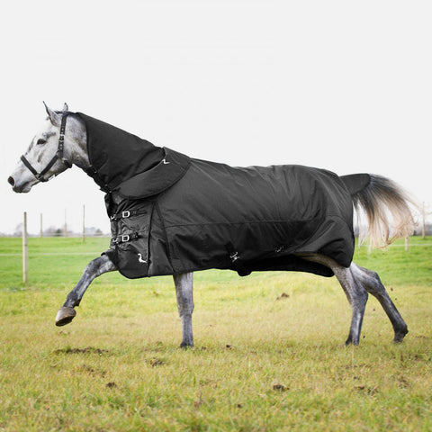 Horze Nevada Medium Weight Turnout Blanket 200g - Black - with Detachable Neck