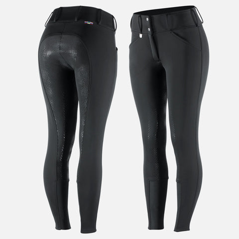 Horze Women's Grand Prix Thermo Softshell Full Seat Breeches - Black
