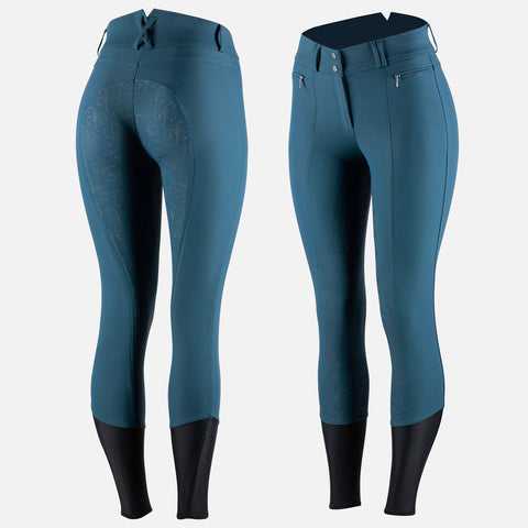 Horze Women's Angelina Full Seat Breeches - Silicone Grip- Reflecting Pond Blue