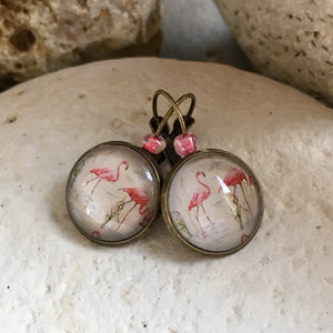 Dormeuses flamants roses 16mm