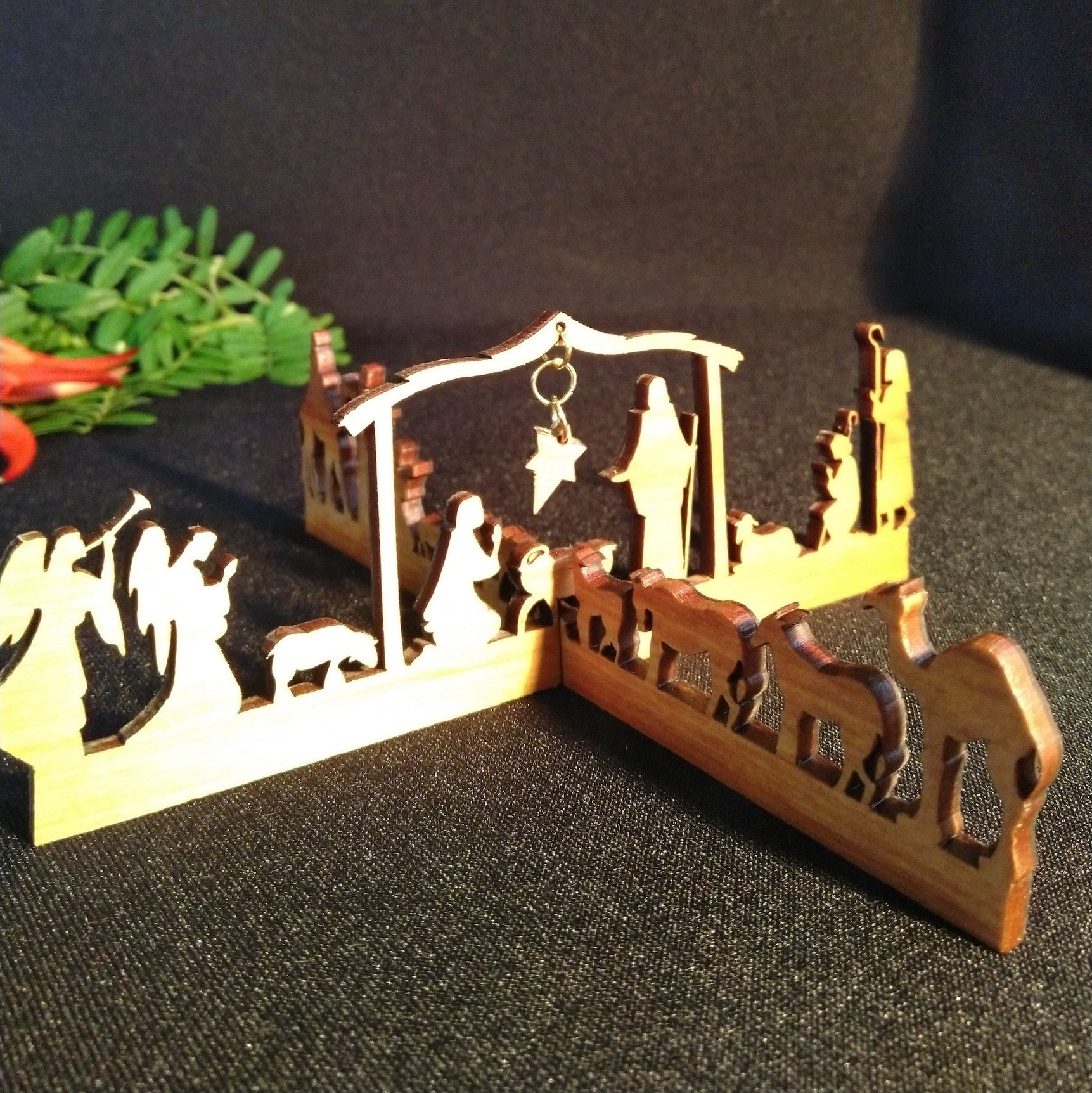 Christmas Table Top Cross Nativity