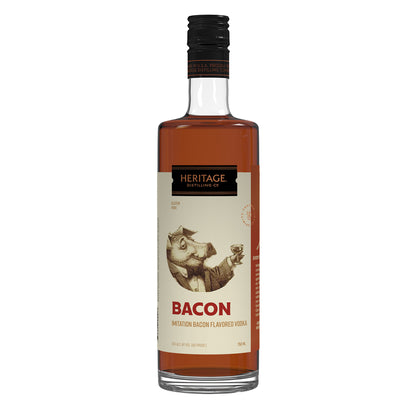 Bacon Flavored Vodka 750 ml glass bottle with white label featuring pig