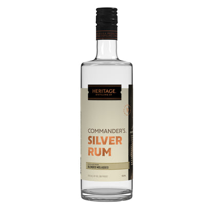 A 750ml bottle of HDC Commander's Silver Rum.