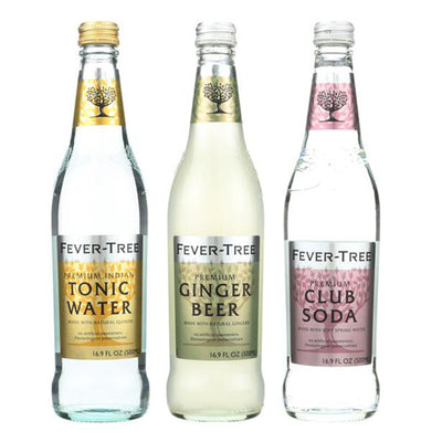 Three 16.9 fl oz Fever-Tree mixers. One 16.9oz bottle of Tonic Water. One 16.9oz Fever-Tree Ginger Beer. One 16.9oz Fever-Tree Club Soda.