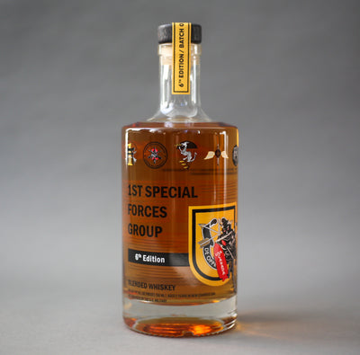 A 750ml bottle of 1st Special Forces Group Whiskey - 6th Edition - 2020 Release.