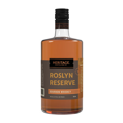 A 750ml bottle of HDC Roslyn Reserve Bourbon Whiskey.