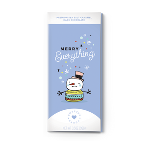 Merry Everything Holiday Card & Chocolate Bar - Sea Salt Caramel and Dark Chocolate