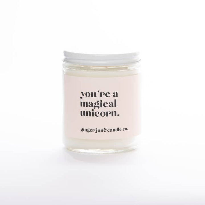 You Are a Magical Unicorn - Non Toxic Soy Candle - Apricot Fig