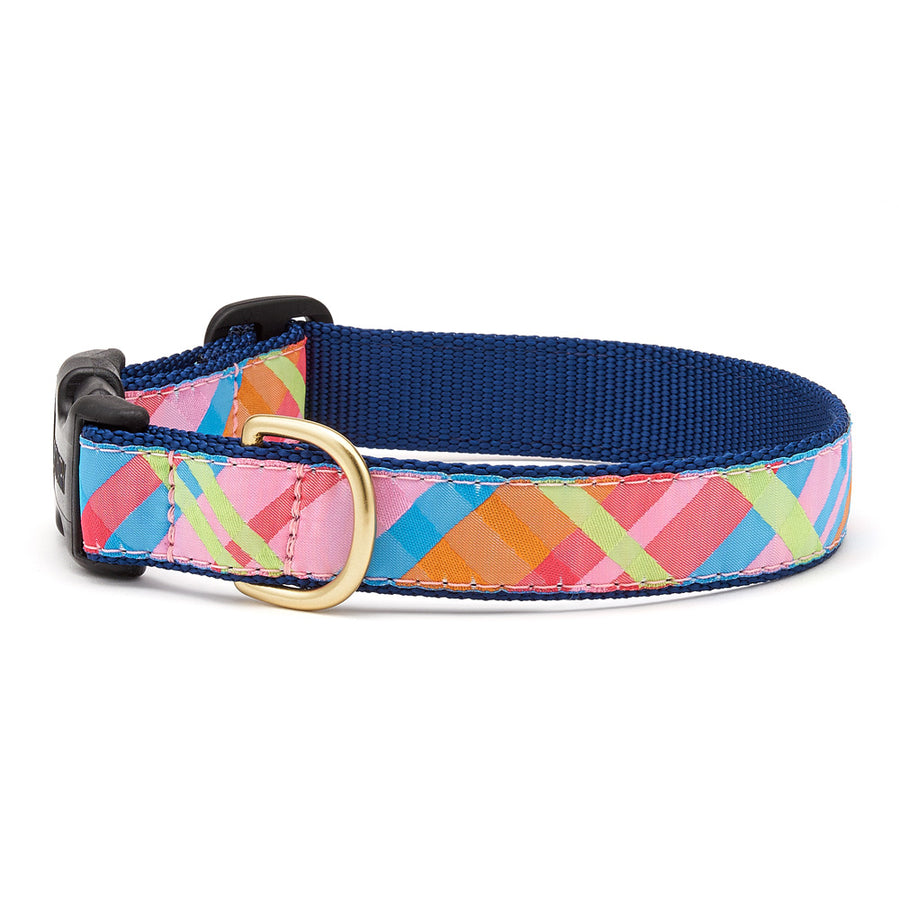 Pink Madras Dog Collar
