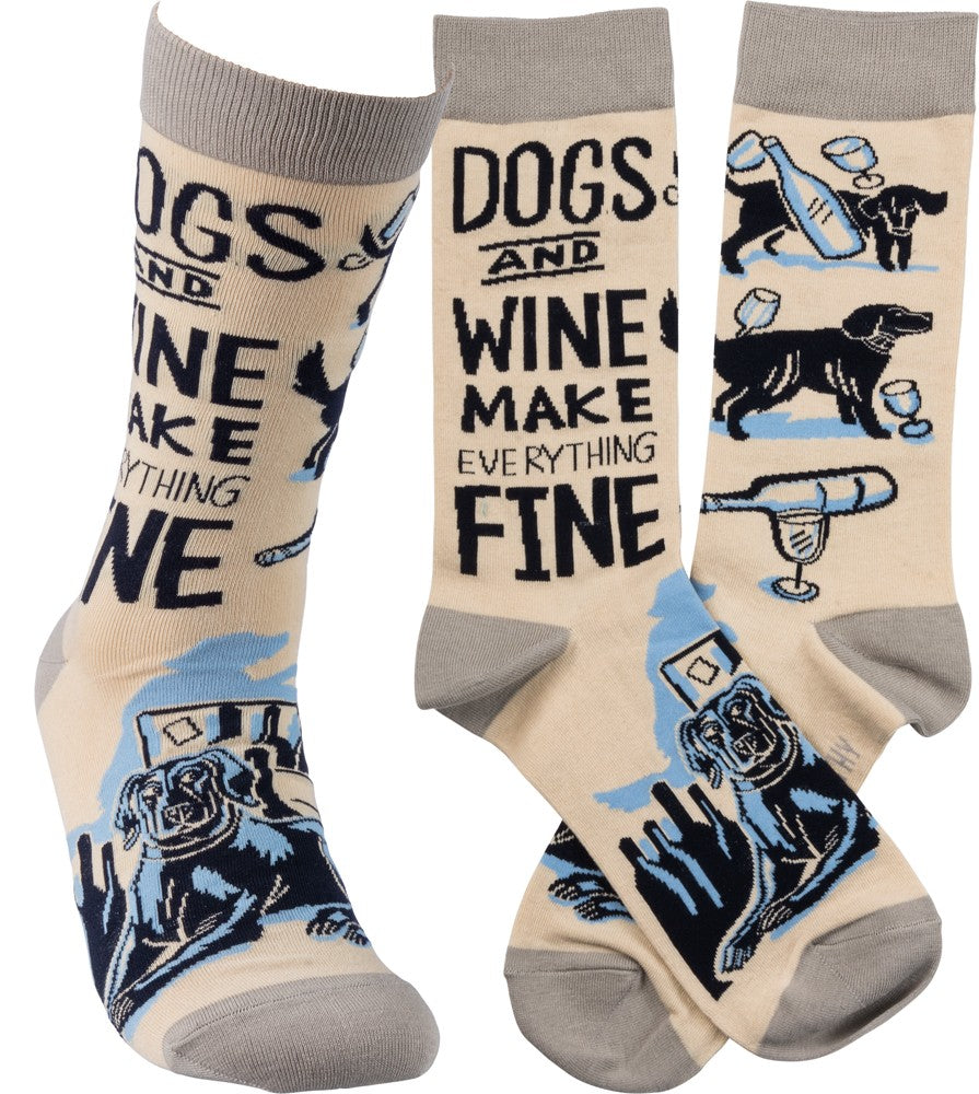 Dogs And Wine Everything Fine - Socks