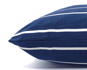 The Foggy Dog - Modern Stripe Navy Dog Bed-Medium
