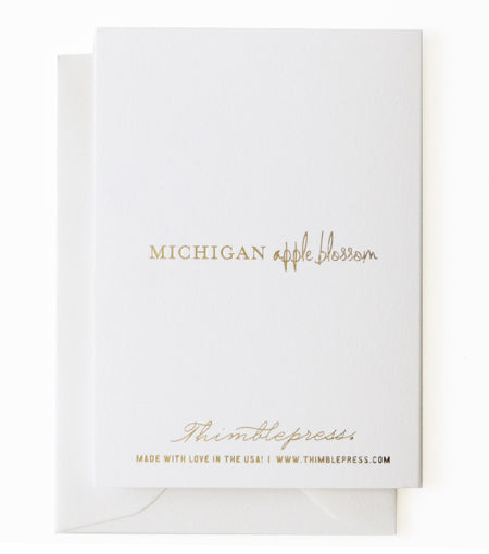 Thimblepress - Michigan Apple Blossom State Flower Collection Card