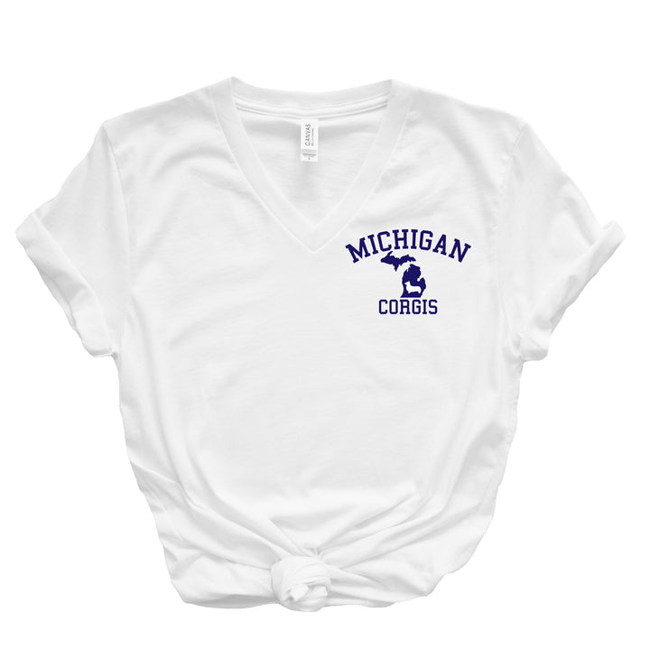 Michigan Corgis V-Neck T-Shirt