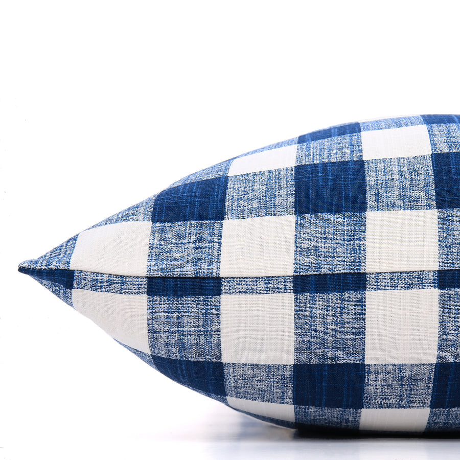 The Foggy Dog - Navy Blue Gingham Check Dog Bed-Large
