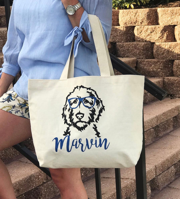 Personalized Doodle Jumbo Tote Bag - glasses