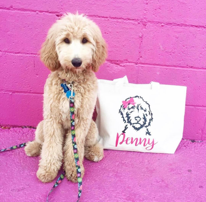 Personalized Doodle Jumbo Tote Bag - bow