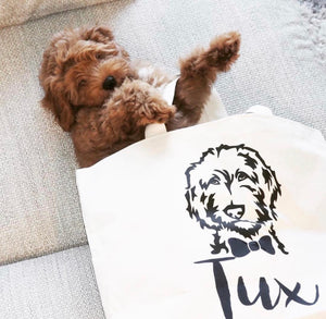Personalized Doodle Jumbo Tote Bag - bow tie