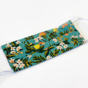Cotton Mask - Rifle Paper Co Fabric - Citrus Floral in Teal