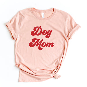 Dog Mom Crewneck Peach T-Shirt