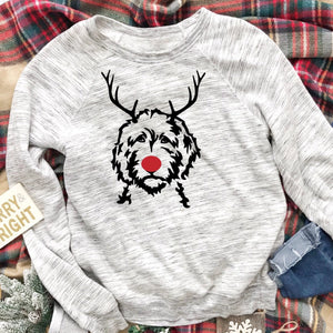 Reindeer Doodle Light Gray Marble Fleece Crewneck Sweatshirt