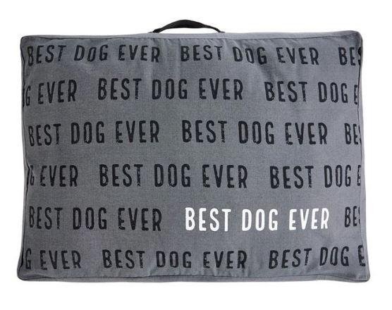 Large Best Dog Ever Gray Canvas Dog Bed
