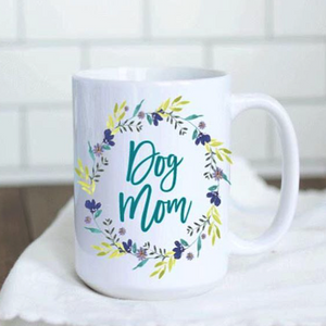 Teal Floral Dog Mom Mug