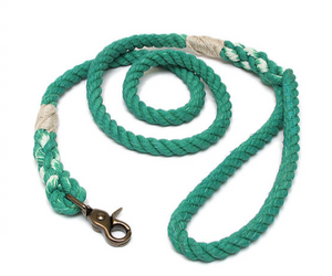 Kelly Green Cotton Rope Leash