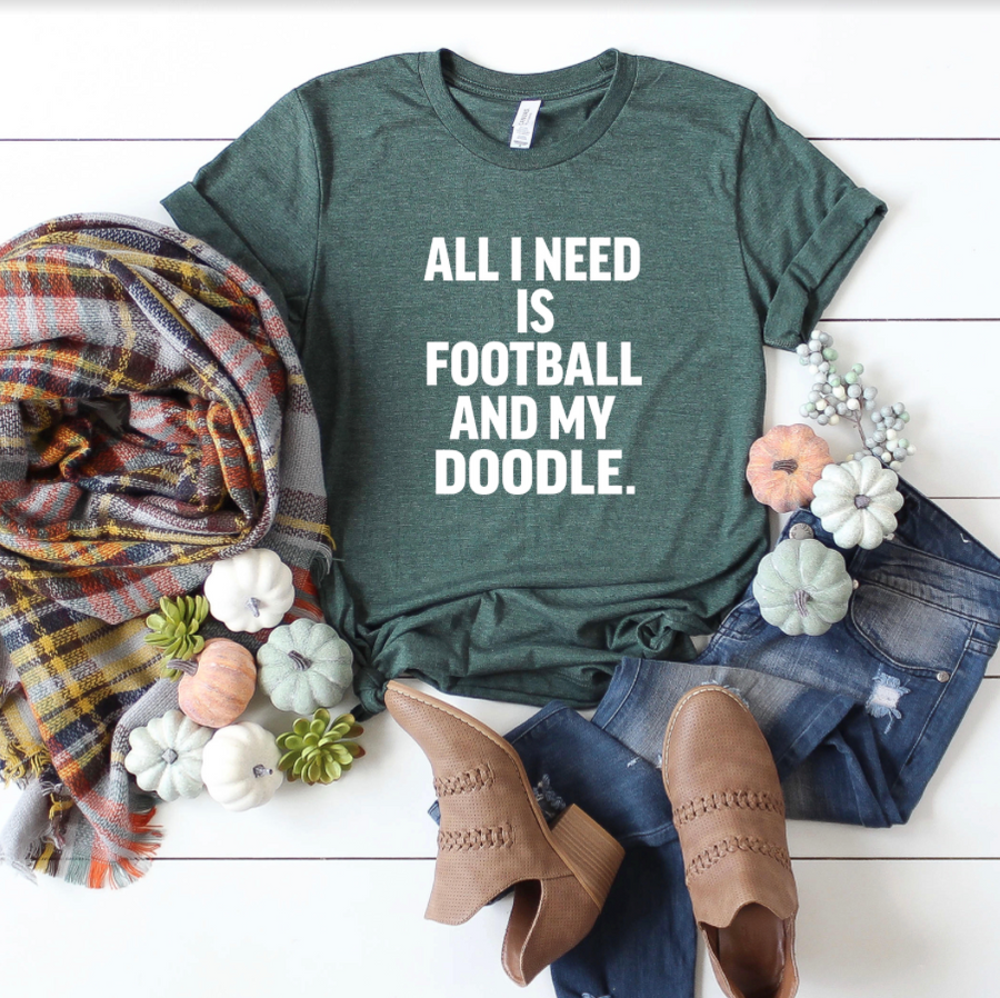 All I Need is Football and My Doodle Crewneck T-Shirt - Customize