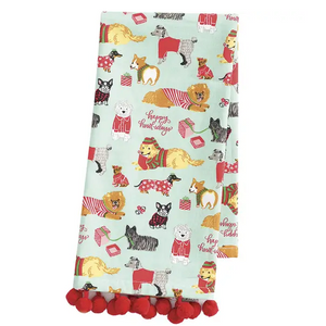 Holiday Dogs in Pajamas Tea Towels - Set of 2