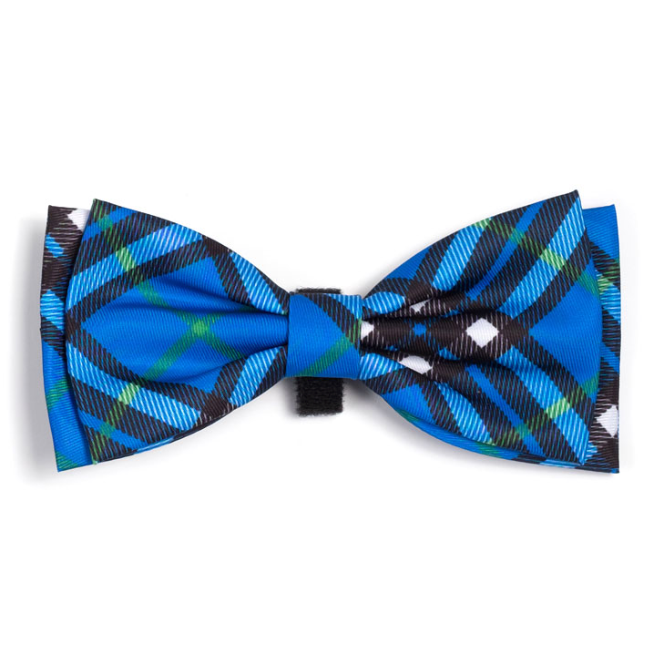 Bias Plaid Blue Bow Tie