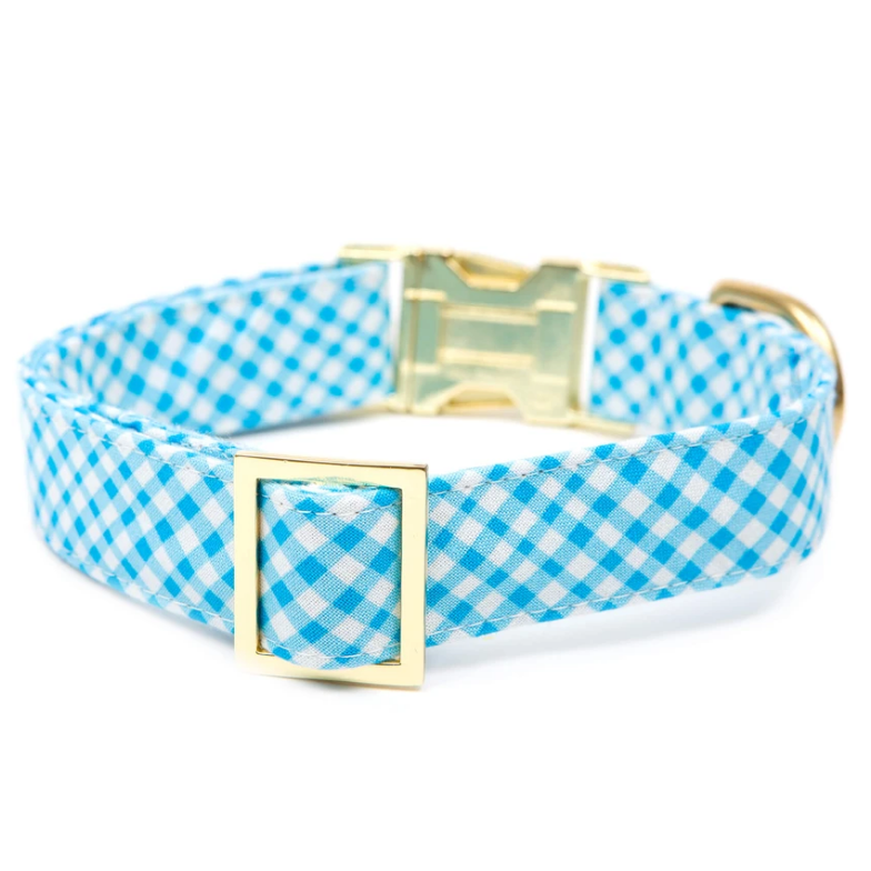 The Foggy Dog - Sky Blue Gingham Dog Collar
