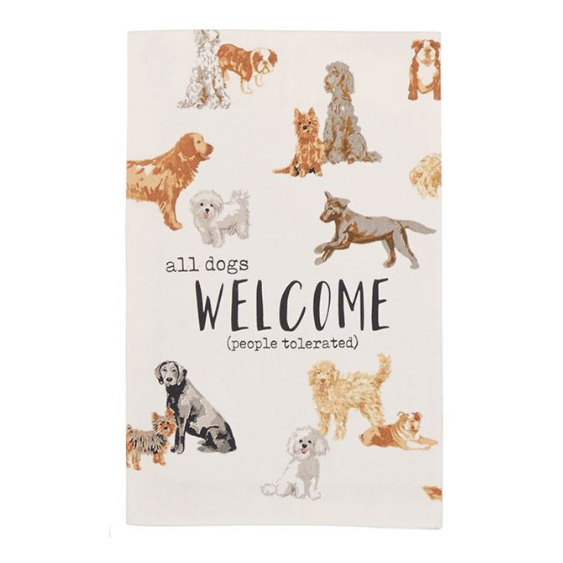All Dogs Welcome Watercolor Towel