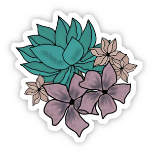 Teal Multicolor Floral Sticker